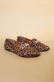 Chain Link Pointy Toe Closed Toe Loafer Flats Shoes-Leopard Print