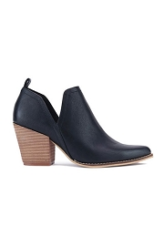 Ankle Slit Side Cutout Closed Toe Booties with Block Heel-Black