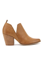Ankle Slit Side Cutout Closed Toe Booties with Block Heel-Camel Brown
