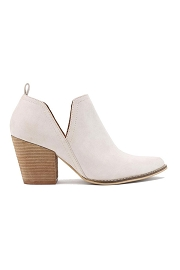 Ankle Slit Side Cutout Closed Toe Booties with Block Heel-Sand Light Taupe