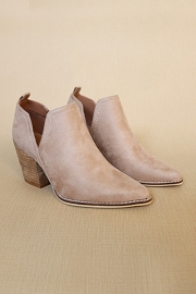 Ankle Slit Side Cutout Closed Toe Booties with Block Heel-Taupe
