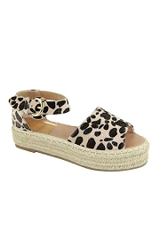 Open Toe Espadrille Low Platform Flats Sandals-Leopard Cheetah Print