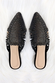 Raffia Pointy Toe Closed Toe Flat Mules Sandals Slides-Black