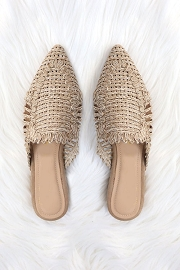 Raffia Pointy Toe Closed Toe Flat Mules Sandals Slides-Taupe