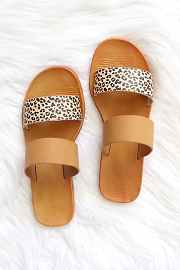 Animal Print Mixed Two Strap Band Sandals-Brown & Cheetah Leopard Print