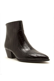 Pointy Closed Toe Booties-Black Croc