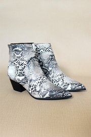Pointy Closed Toe Booties-Snake Python Print