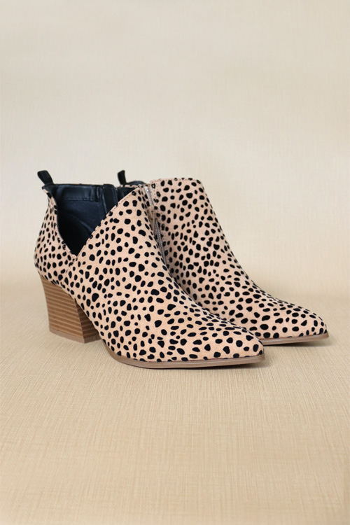 leopard cut out booties