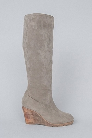 Faux Suede Knee High Wedge Boots-Grey