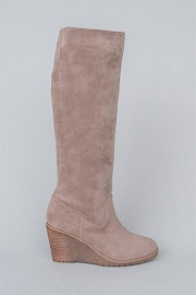 Faux Suede Knee High Wedge Boots-Taupe