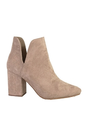 Side Cutout Closed Toe Block Heel Booties-Taupe