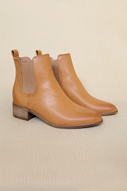 Faux Leather Chelsea Ankle Booties with Low Wooden Heel-Camel Brown