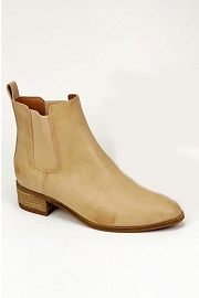 Faux Leather Chelsea Ankle Booties with Low Wooden Heel-Taupe