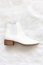 Faux Leather Chelsea Ankle Booties with Low Wooden Heel-White