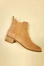 Faux Suede Chelsea Ankle Booties with Low Wooden Heel-Camel Brown