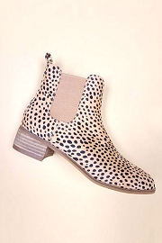 Faux Suede Chelsea Ankle Booties with Low Wooden Heel-Leopard Print
