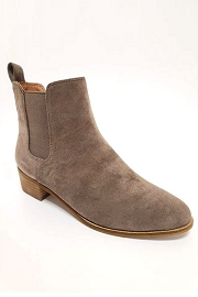 Faux Suede Chelsea Ankle Booties with Low Wooden Heel-Taupe