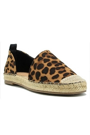 Closed Cap Toe Faux Suede Side Cut Out Espadrille Flats-Leopard Print