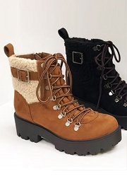 Sherpa Fur Lug Winter Snow Boots-Brown