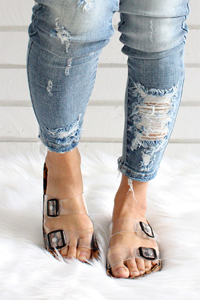 Clear Double Strap Buckle Sandals with
