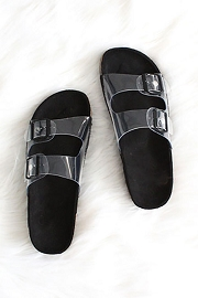 Clear Double Strap Buckle Sandals-Black