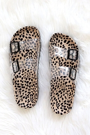 Clear Double Strap Buckle Sandals with Animal Print Sole-Leopard Cheetah Print