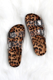 Clear Double Strap Buckle Sandals with Animal Print Sole-Leopard Print