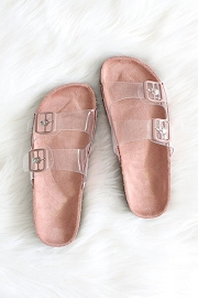 Clear Double Strap Buckle Sandals-Pink Mauve Sole