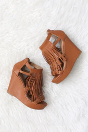 Faux Leather Fringe Sandals with Wedge Heel-Camel Brown