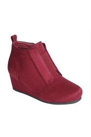 Perforated Wedge Sneakers-Burgundy Red