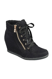 Lace Up Wedge Sneakers with Zipper-Black