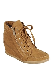 Lace Up Wedge Sneakers with Zipper-Tan Camel Brown