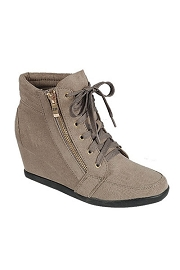 Lace Up Wedge Sneakers with Zipper-Taupe