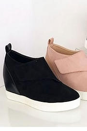 Velcro Hidden Wedge Sneakers-Black