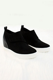 FLASH SALE: Velcro Hidden Wedge Sneakers-Black