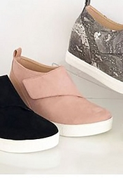 Velcro Hidden Wedge Sneakers-Blush Pink