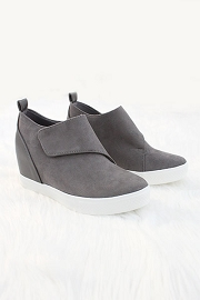 FLASH SALE: Velcro Hidden Wedge Sneakers-Grey