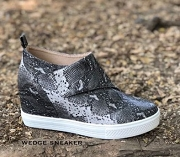 Velcro Hidden Wedge Sneakers-Snake Print
