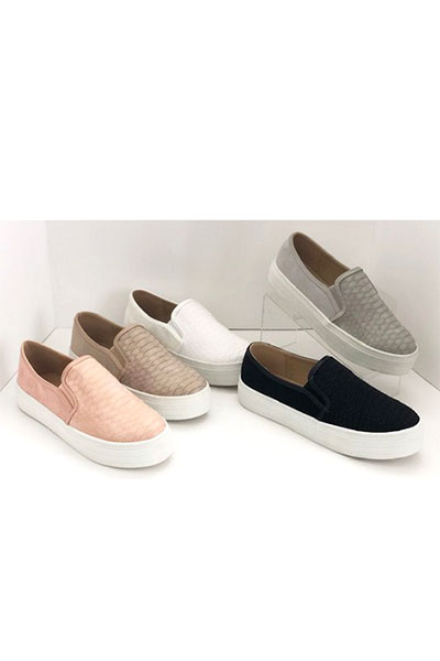 Snake Textured Casual Slip On Flat