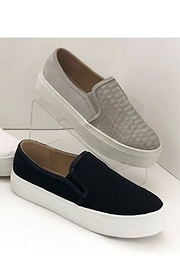 Snake Textured Casual Slip On Flat Shoes Sneakers-Grey