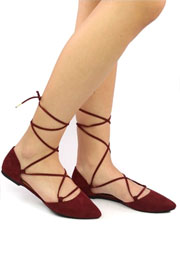 Faux Suede Pointy Toe Lace Up Strappy Ballet Ballerina Flats-Burgundy Red