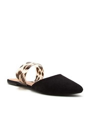 Pointy Toe Clear Strap Closed Toe Flat Mules Sandals Slides-Black & Clear Leopard Print