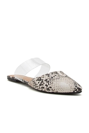Pointy Toe Clear Strap Closed Toe Flat Mules Sandals Slides-Python Snake Print & Clear
