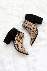 Pointy Closed Toe Booties with Block Heel-Black and Leopard Print