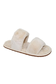 Two Strap Cozy Fur Slippers Slides-Beige