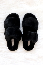 Two Strap Cozy Fur Slippers Slides-Black