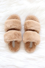 Two Strap Cozy Fur Slippers Slides-Camel Brown