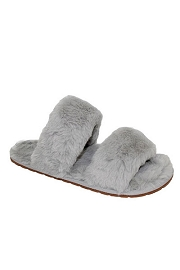 Two Strap Cozy Fur Slippers Slides-Grey