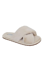 X Cross Band Cozy Fur Slippers Slides-Beige
