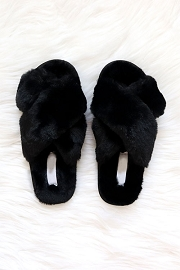 X Cross Band Cozy Fur Slippers Slides-Black
